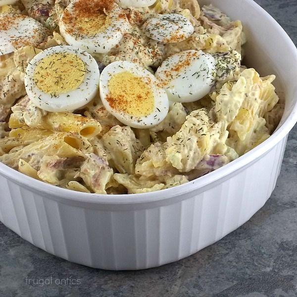 Tuna Macaroni Salad Half recipe for family of 4. I add halved cherry ...