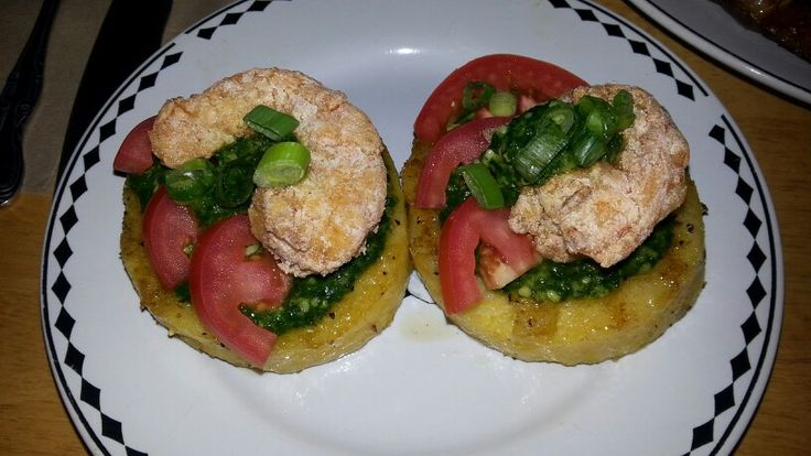 Grilled polenta cakes w/spinach pesto, sliced tomatoes, fried shrimp ...