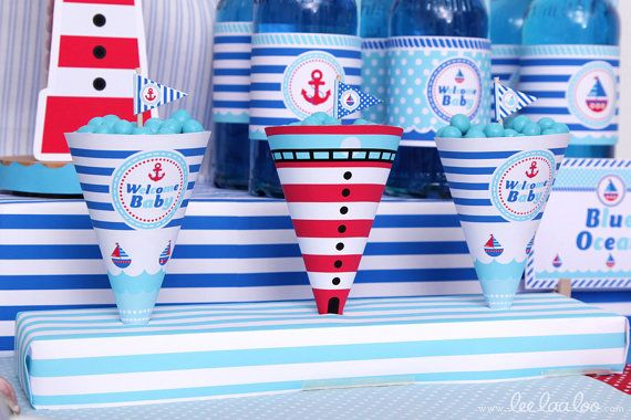 Nautical Baby Shower Party Cones