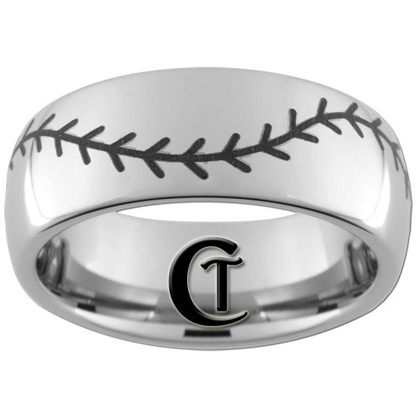8mm Tungsten Carbide Band Dome Baseball Ring By CustomTungsten