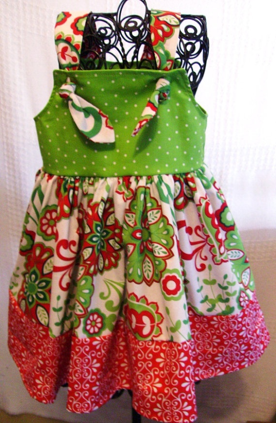 Christmas print knot dress in sizes 12 months 18 months 2t 3t 4t