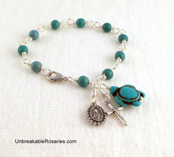 Sacred Heart of Jesus Scapular Rosary Bracelet In Turquoise Come Visit ...