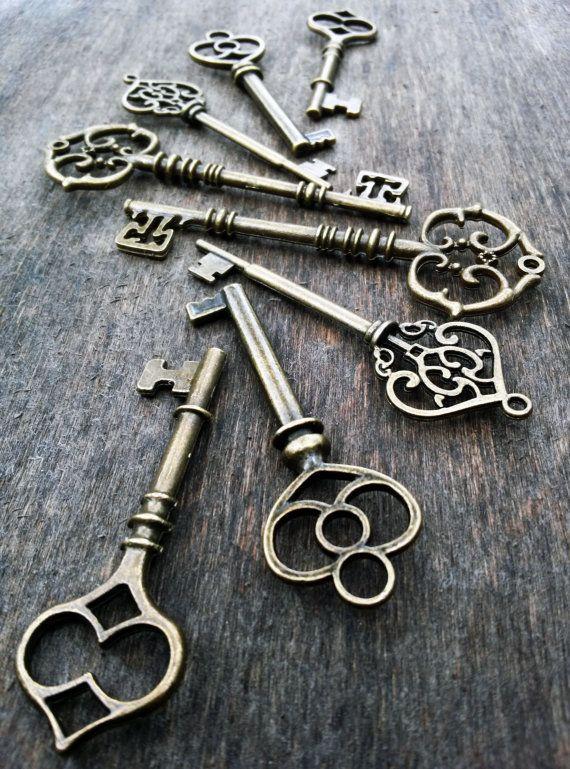 20 pc large antiqued bronze skeleton keys steampunk for Antique looking keys