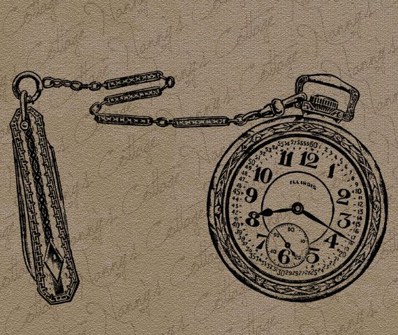 ... Pocket Watch Fob Clip Art Illustration Vintage Digital Graphi: pinterest.com/pin/73746512623262068