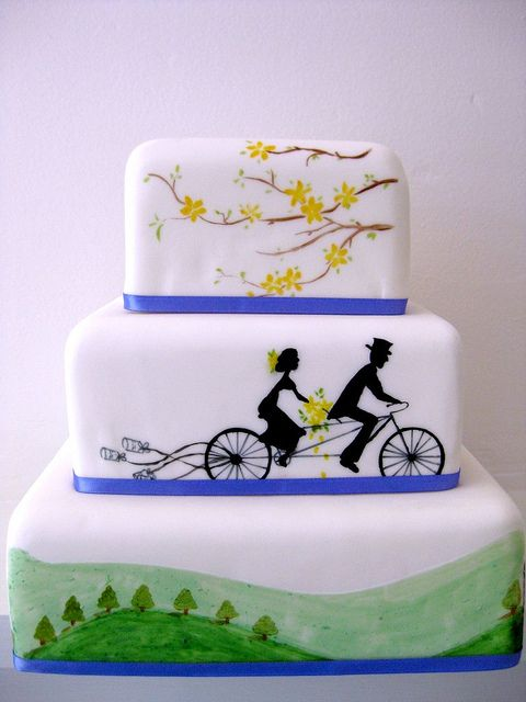 Cycling and mountain-themed wedding cake by sweet_sweet_way, via Flickr