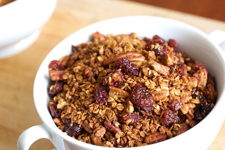 Cherry Pecan Granola--use coconut oil instead of canola oil!