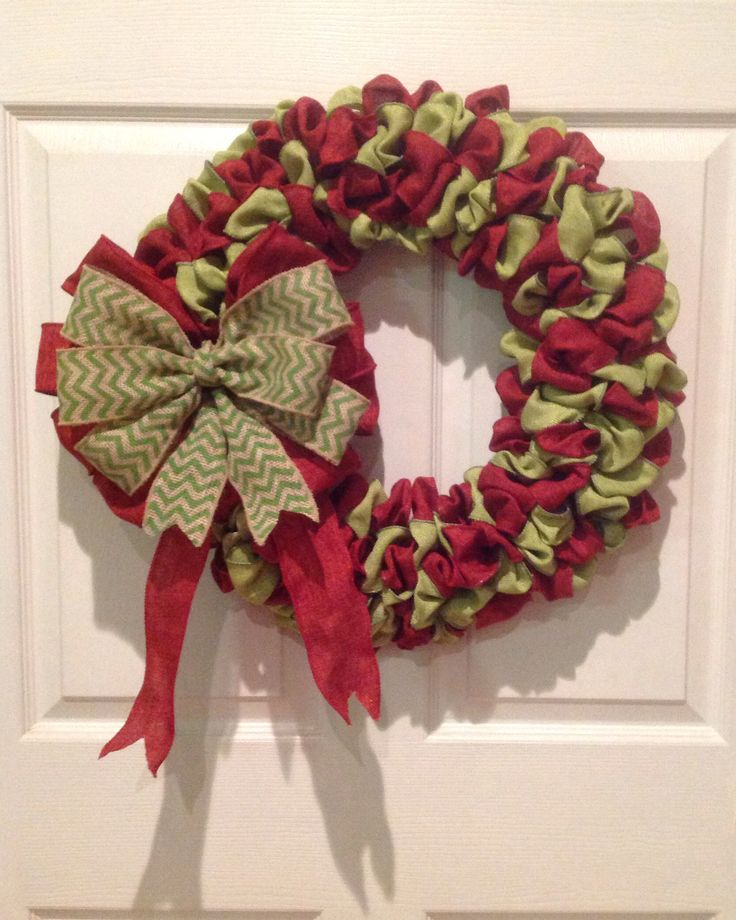 Christmas burlap wreath burlap wreaths pinterest Burlap xmas wreath