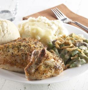 ... , chicken gravy, green bean casserole, ciabatta roll and butter