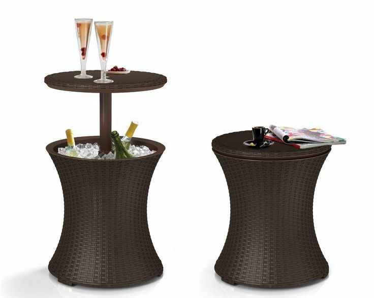 Cooler Cocktail Table Combo Wicker Outdoor Furniture Patio