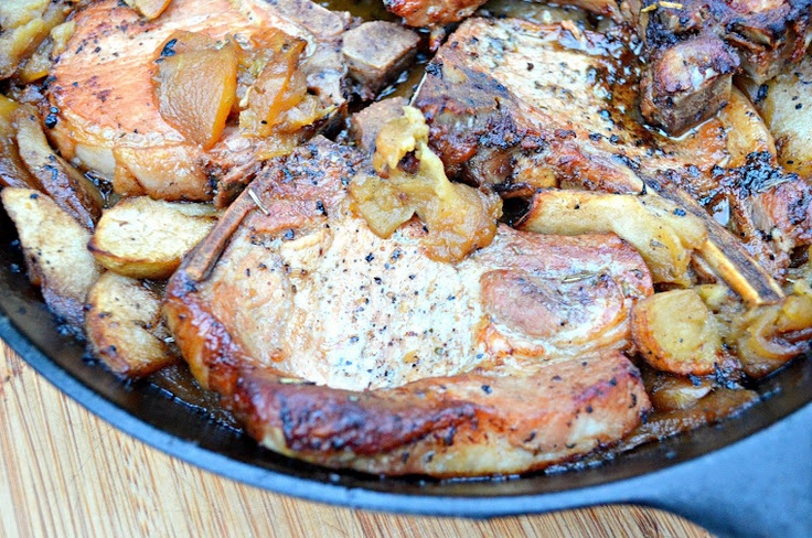 Pork Chops With Apples, Sage, Rosemary And Garlic | Recipe