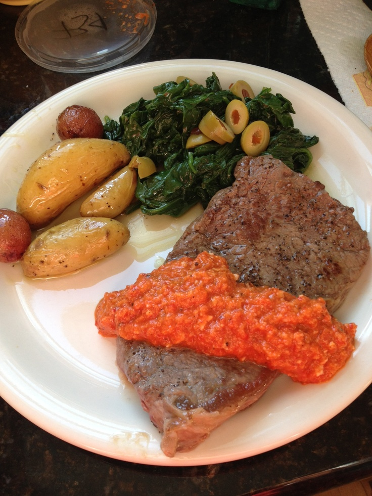 yesterday ny strip steaks with romesco roasted baby potatoes and ...