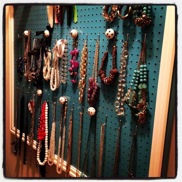 Jewelry Pegboard: another jewelry idea.