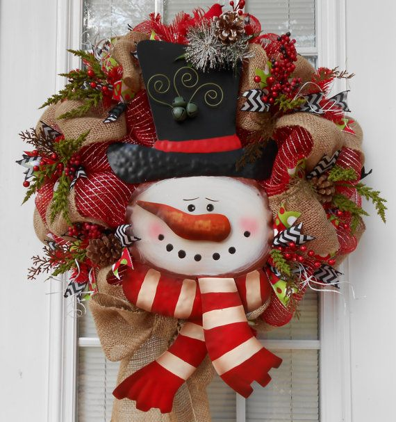Deco mesh burlap large snowman wreath winter christmas Burlap xmas wreath