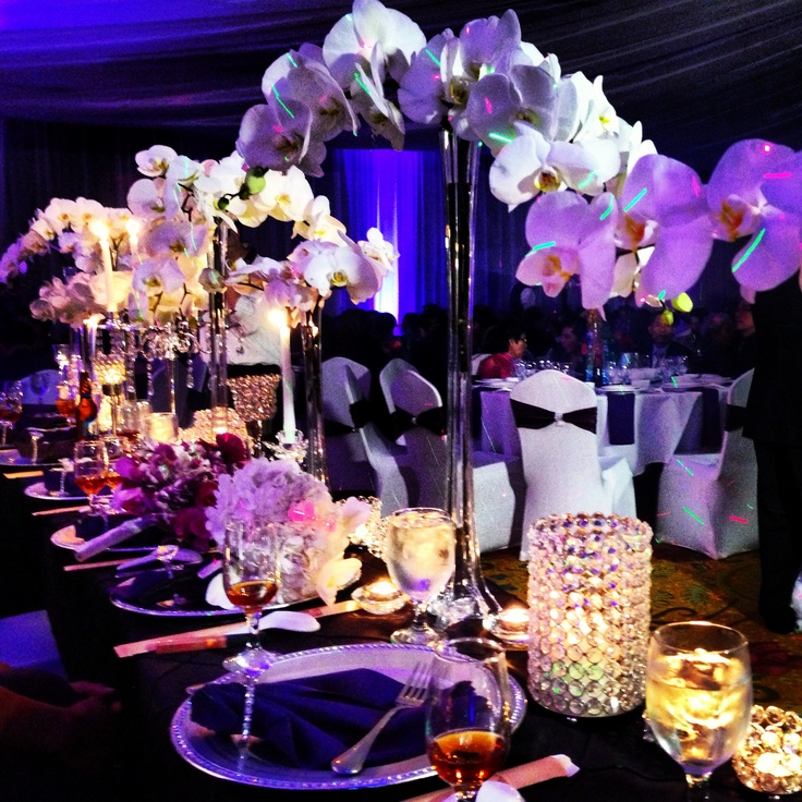 Purple wedding head table orchids