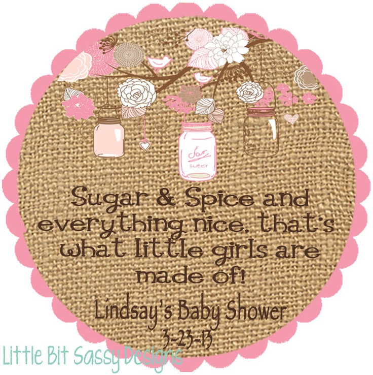 Baby Shower Stickers For Favors: Baby Shower Mason Jar Burlap Favor Stickers