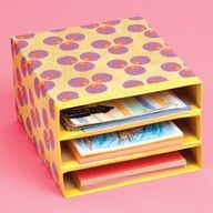 Stack and cover old cereal boxes to make neat storage slots for your desk!