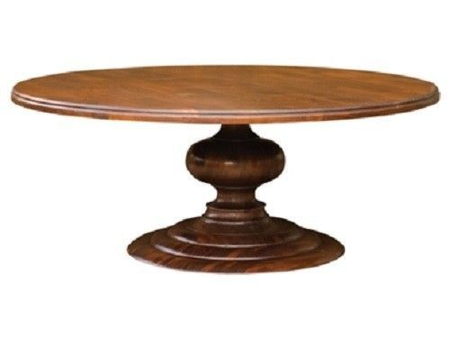 76 Round Solid Mango Wood Pedestal Dining Table 2