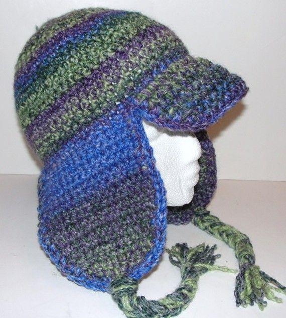 Ear Flap Hat with Brim 2 Crochet Patterns