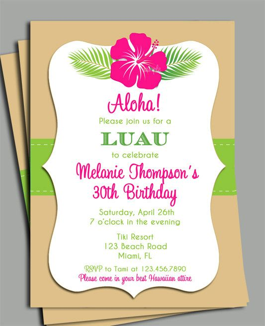 Luau invitation printable personalized for your occassion birthday for Free printable luau invitations