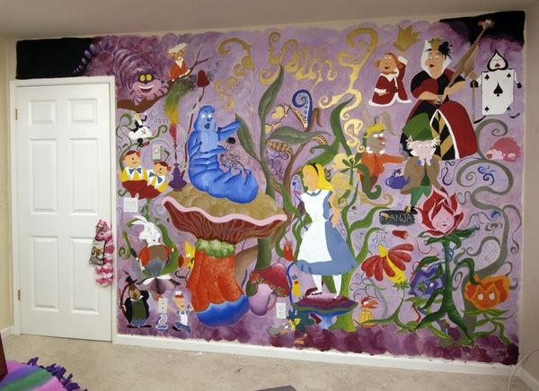 Alice in wonderland wall mural alice in wonderland wall for Alice in wonderland wallpaper mural