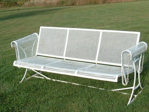 Vintage Wrought Iron Mesh Patio Furniture Swinging Glider Possibly Wo…