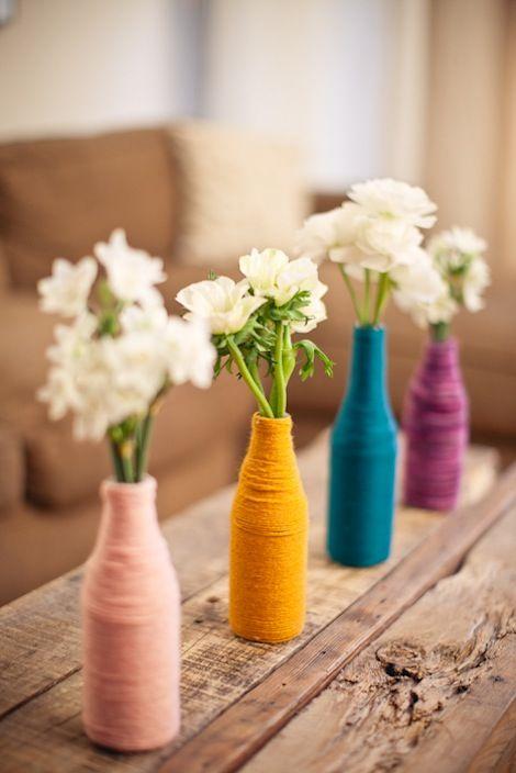yarn wrapped bottles  jesi haack - baby shower