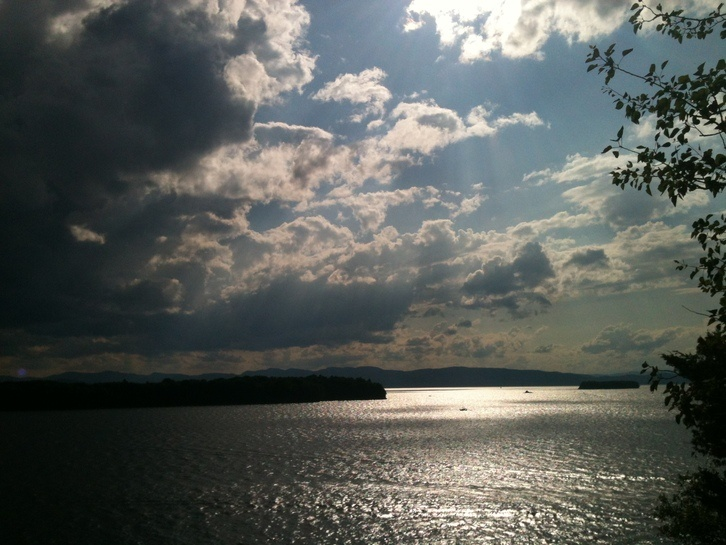 Just after a light storm over Lake Champlain, the clouds parted and ...