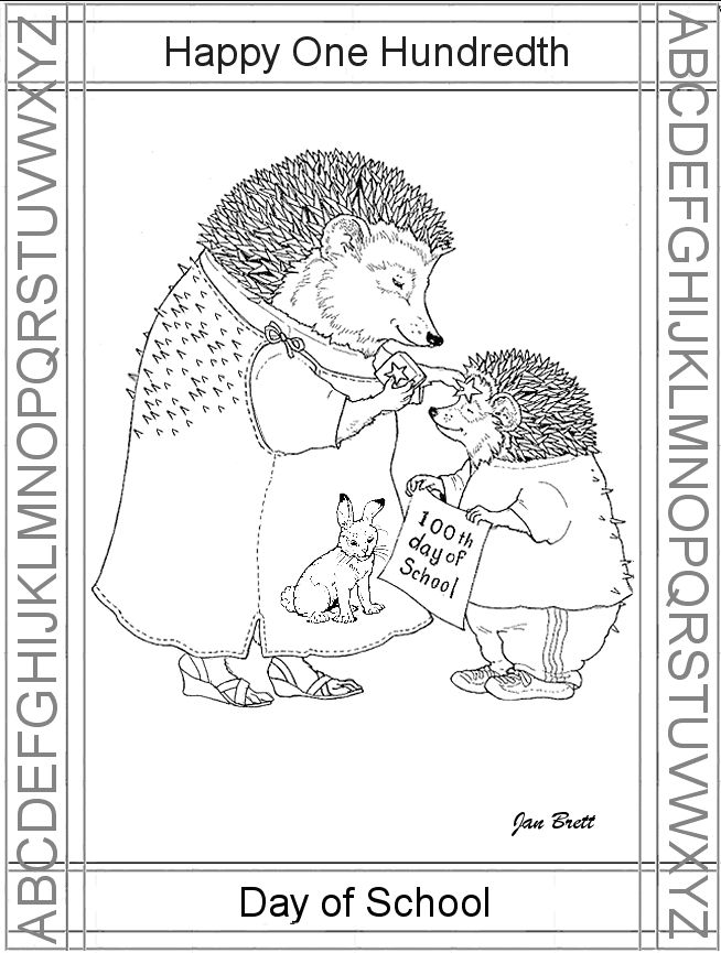 100th Day Of School Jan Brett Color Page Homeschool Coloring Pages Jan Brett