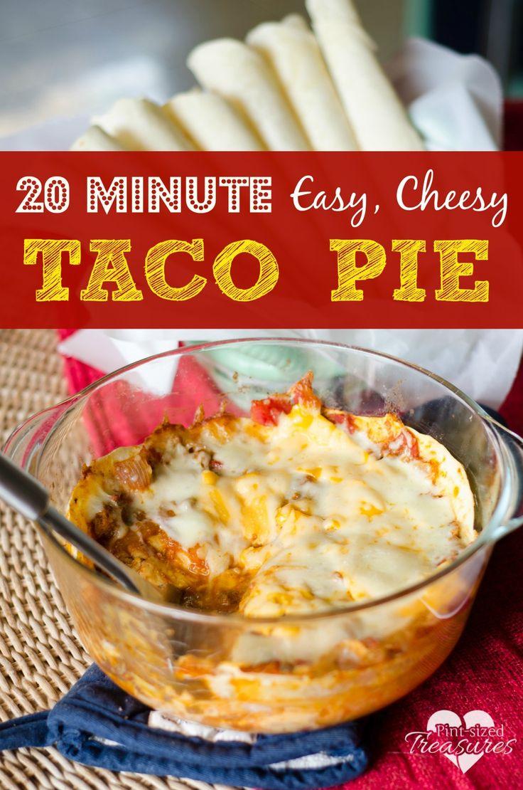 20 Minute, Easy, Cheesy Baked Taco Pie | Recipe