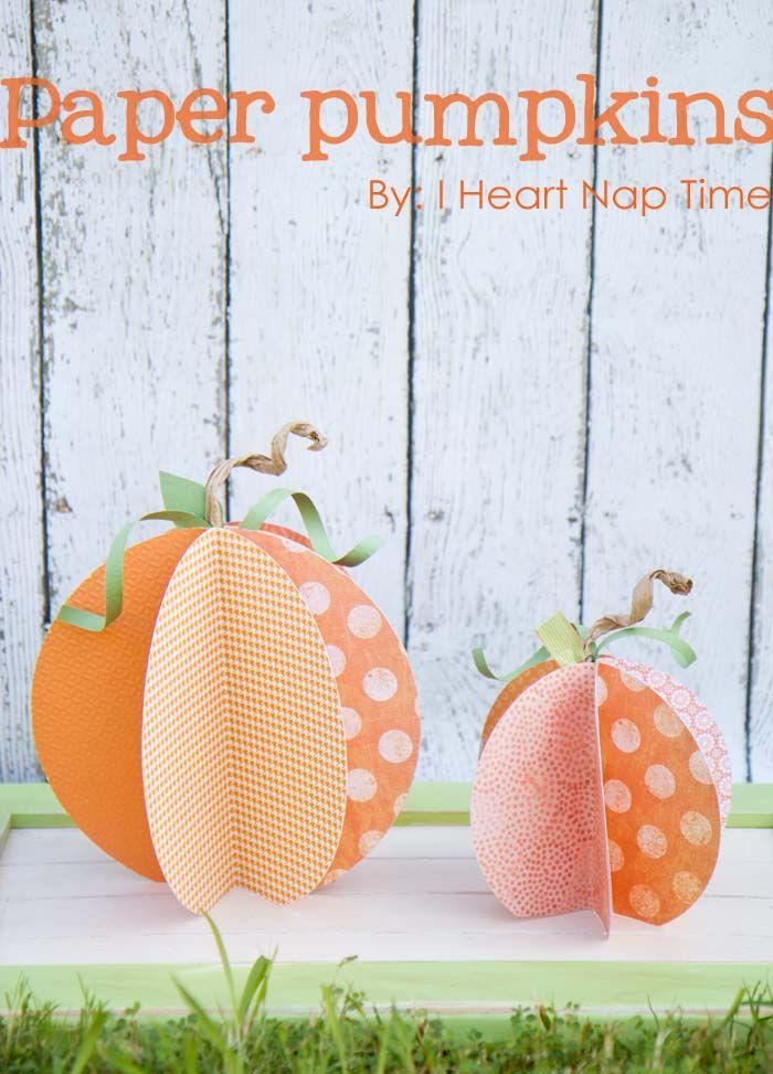 CUTE paper pumpkins on iheartnaptime.com {w/ video tutorial} #crafts #DIY #Halloween