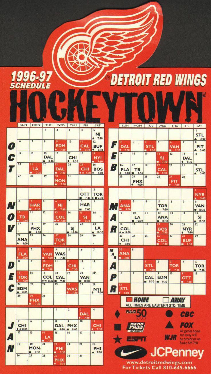 picture regarding Detroit Red Wings Printable Schedule called Pin Via Audrey Lambert Upon Hockey Pinterest -