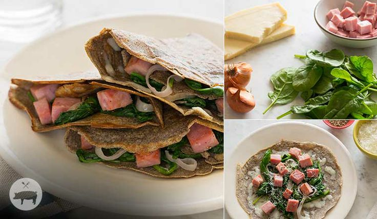 Smoked Ham, Spinach and Gruyère Buckwheat Crepes #finefoodinspiration