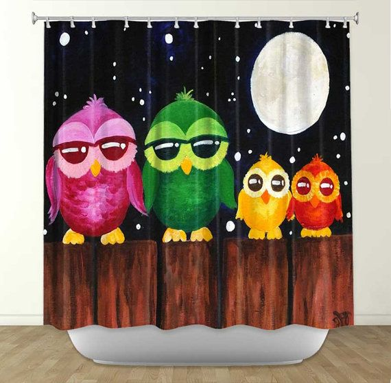 shower curtain owls on a fence 2 bathroom decor owl theme for kids