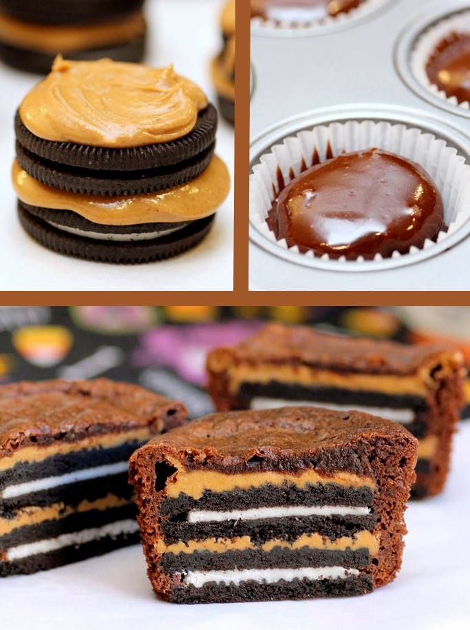 Oreo and Peanut Butter Brownie Cakes. Yum. Had to Google because this ...
