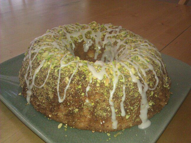 Pistachio Lime Angel Food Cake with Lime Glaze by Keri Chan's Cakes