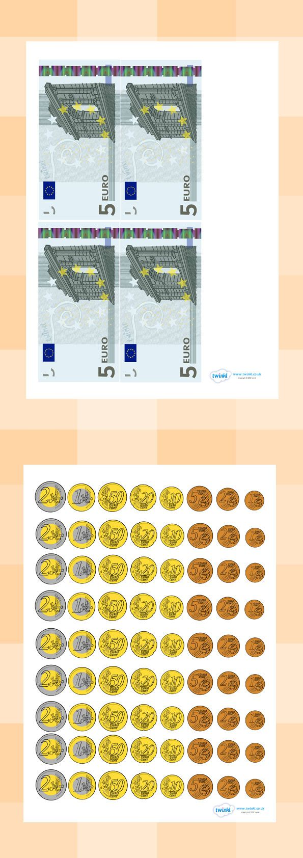 Free Euro Money Resources  Euro coins front and back  Early