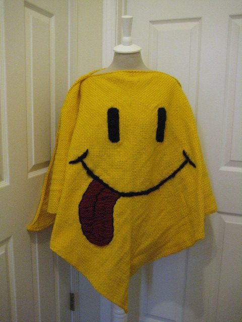 Smiley Face Winter Poncho  Loom Woven by FunAndFaithfulKnits   95 00Winter Smiley Face
