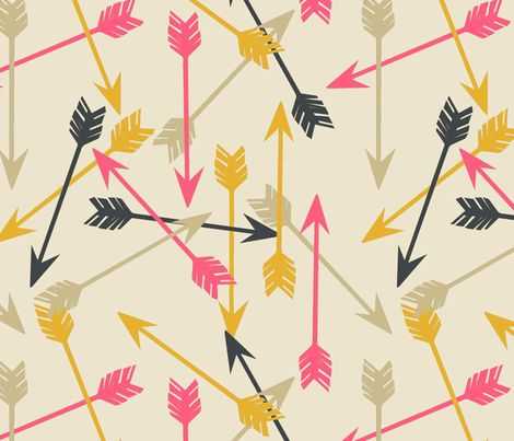 Arrows Scattered on Cream. fabric by papersparrow