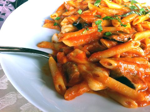 Penne with chopped eggplant, tomato sauce, and melted mozzarella ...