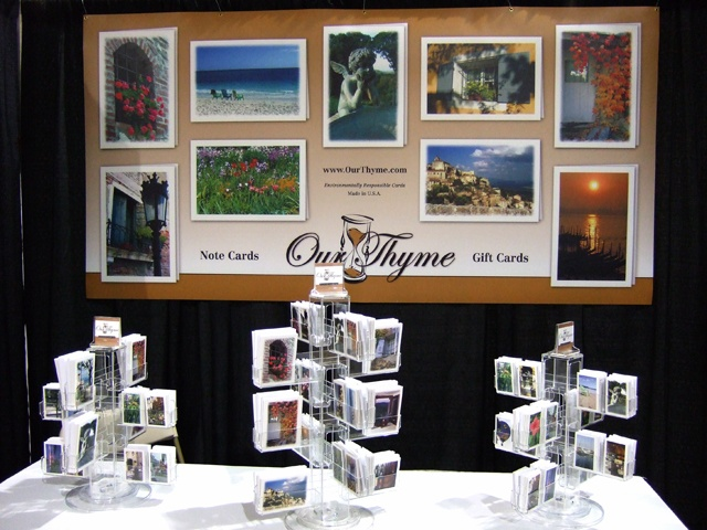 Our Thyme is a manufacturer and wholesaler of note cards and gift cards that feature the owner's artistic photography. The Homer Group design and printed all of the cards in their series, and also design and produced this booth display that was used at wholesale trade shows.