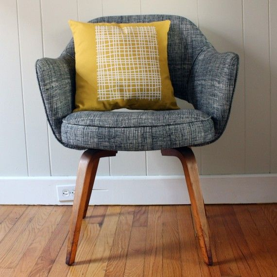 Grey Chair Yellow Patterned Pillow Things For