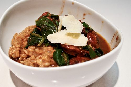 sausage, tomatoes & kale w/parmesan farro risotto by bitchincamero ...