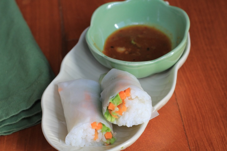 Vietnamese Summer Rolls with Shrimp and Avocado and Thai Peanut ...