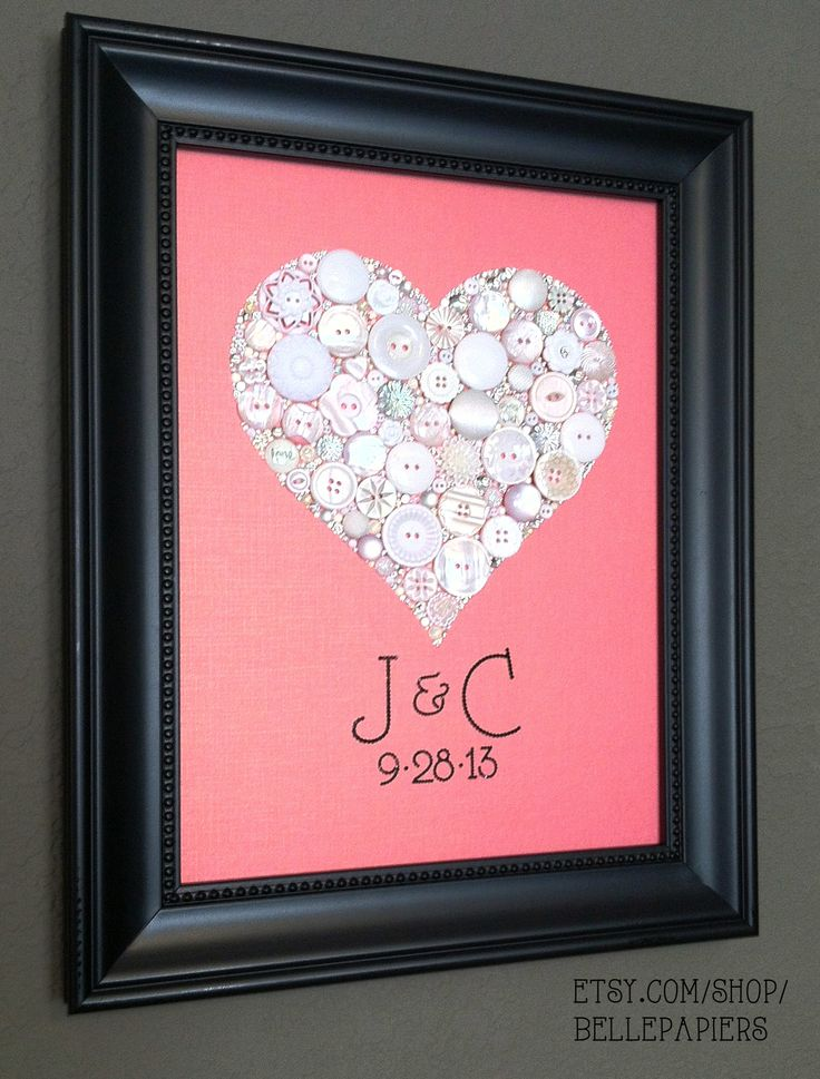 Wedding Gift! Button & Swarovski Heart with bride and grooms initial...