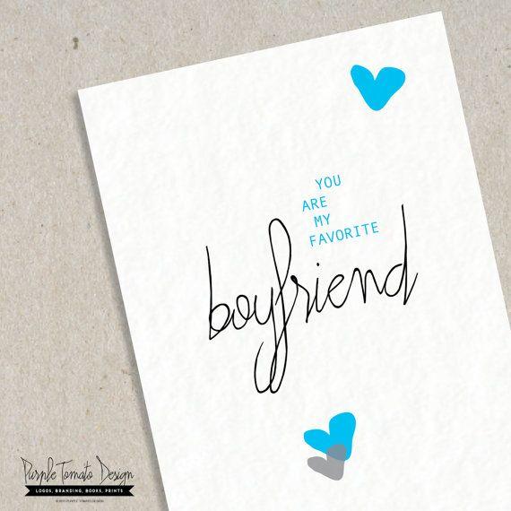 Favorite Boyfriend Card with Envelope DIY. Boyfriend Birthday Card ...