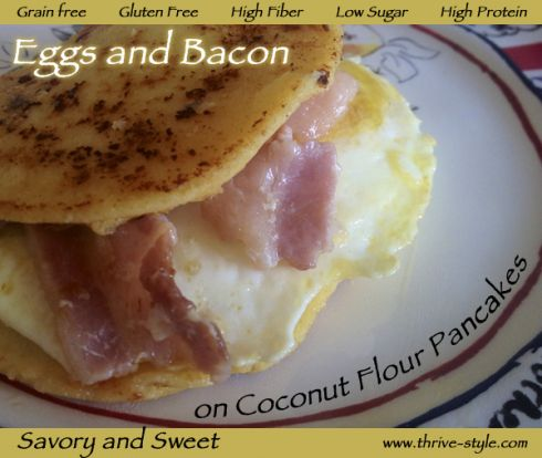 Savory and Sweet: Egg and Bacon Sandwich on Coconut Flour Pancakes (g ...