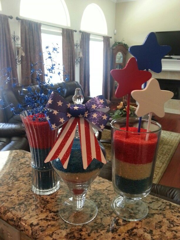 Patriotic decorations made with dyed rice! Fun project to do with the kids.