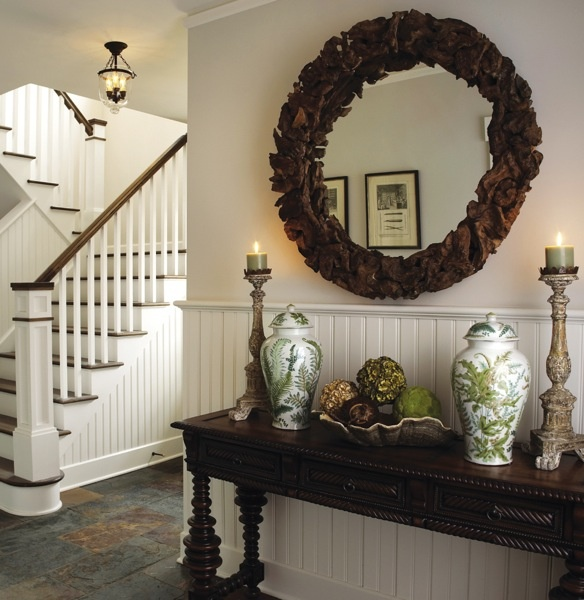 entry table for mud room with mirror front entry foyer