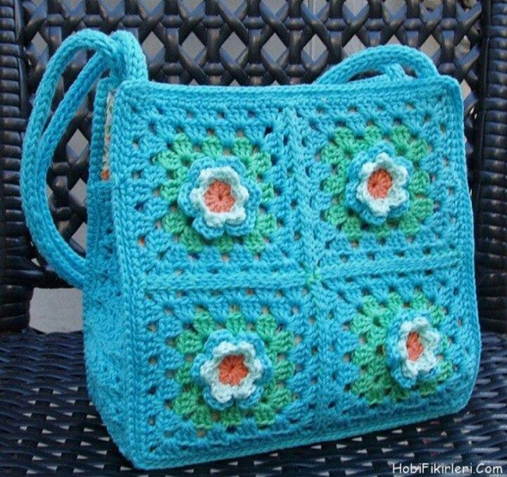 Granny square bag Crochet Bags Pinterest