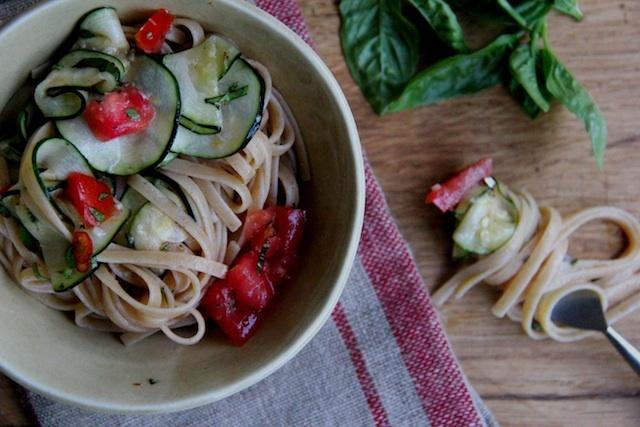 ... -Grain Pasta (or quinoa pasta) with Fresh Tomato and Zucchini Sauce